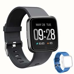 Smartwatch Fitness Tracker Wasserdicht IP67 Fitness Armbanduhr mit Pulsuhren Sportuhr Aktivitätstracker Schrittzähler für Damen Herren Anruf Kompatibel mit IOS und Android Schwarz - 1