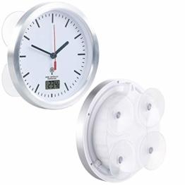 St. Leonhard Badezimmeruhr: Badezimmer-Funk-Wanduhr mit Thermometer & Saugnäpfen, Alu-Rahmen, IPX4 (Badezimmeruhr zum Aufhängen) - 1