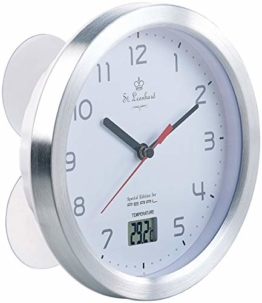 St. Leonhard Baduhr: Badezimmer-Wanduhr mit LCD-Thermometer und Aluminium-Rahmen, IPX4 (Badezimmeruhren) - 1