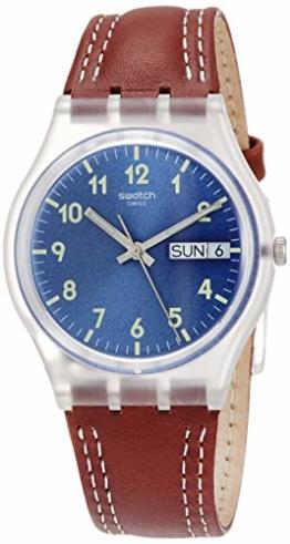 Swatch Herren Analog Quarz Uhr mit Leder Armband GE709 - 1