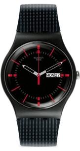 Swatch Herren Analog Quarz Uhr mit Silikon Armband SUOB714 - 1
