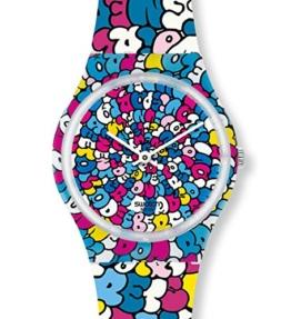 Swatch Unisex Analog Quarz Uhr mit Kautschuk Armband GE232 - 1