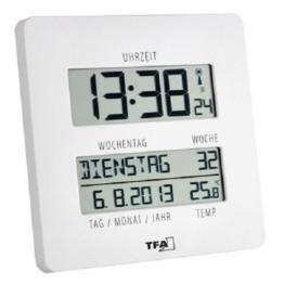 TFA Dostmann TIMELINE Digitale Funkuhr mit Temperatur, Kunststoff, weiß, (L) 195 x (B) 27 (110) x (H) 195 mm - 1