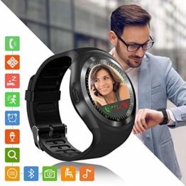 Tipmant Smartwatch SN05 Fitness Armband Uhr mit Schrittzähler Touchscreen SIM-Karte Slot Fitness Tracker Smart Watch für Samsung Huawei Xiaomi Android iPhone ios für Damen Herren Kinder (Schwarz) - 1