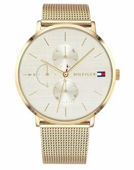 Tommy Hilfiger Damen Multi Zifferblatt Quarz Uhr mit Paqué or Armband 1781943 - 1
