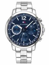 Tommy Hilfiger Herren Multi Zifferblatt Quarz Uhr mit Edelstahl Armband 1791534 - 1
