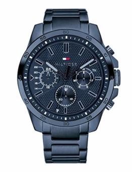 Tommy Hilfiger Herren Multi Zifferblatt Quarz Uhr mit Edelstahl Armband 1791560 - 1