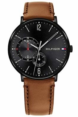 Tommy Hilfiger Herren Multi Zifferblatt Quarz Uhr mit Leder Armband 1791510 - 1