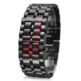 TRIXES Moderne LED Uhr mit Edelstahlarmband Samurai Uhr - 1