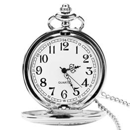UEOTO Herren Unisex Analog Quarz Taschenuhr mit Halskette Kette Retro Quarzuhr Silber (Silber) - 1