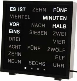 United Entertainment - LED Wort Uhr / Wörter Uhr / Uhr in Worten / Word Clock Deutsch - Schwarz - 1