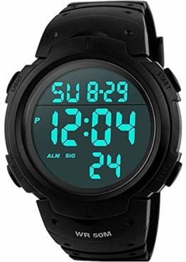VDSOW Herren Digital Quarz Uhr mit Schwarz Plastic Armband Big Face Military Digitaluhren Outdoor Wasserdicht Sportuhr mit Wecker/Timer/LED Hintergrundbeleuchtung - 1