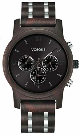 VOEONS Herren Uhr, Herren-Armbanduhr Chronograph Holzuhr mit Gliederarmband Schwarz 6010 - 1