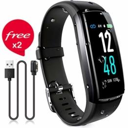 Winisok Fitness Armband mit Blutdruckmessung Pulsmesser, Fitness Tracker Uhr Wasserdicht IP67 Schrittzähler Uhr Stoppuhr Sport GPS Aktivitätstracker Schlafüberwachung Anruf SMS für Kinder Damen Männer - 1