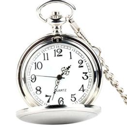 XLORDX Taschenuhr Herren Quarz Uhr mit Halskette Kette Uhr Pocket Watch Silber - 1