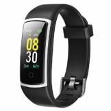 YAMAY Fitness Armband mit Blutdruckmessung,Smartwatch Fitness Tracker mit Pulsmesser Wasserdicht IP68 Fitness Uhr Blutdruck Messgeräte Pulsuhr Schrittzähler Uhr für Damen Herren Anruf SMS SNS Beachten - 1