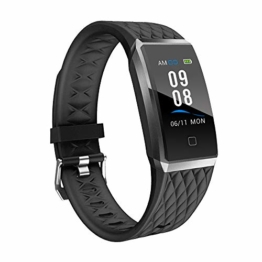 YAMAY Fitness Armband mit Pulsmesser,Wasserdicht IP68 Fitness Trackers Farbbildschirm Fitness Uhr Pulsuhren Aktivitätstracker Smartwatch Schrittzähler Uhr für Damen Herren für iPhone Android Handy - 1