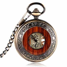 YISUYA Mechanische Taschenuhr Mit Kette Herren, Holz Aushöhlen Zurück Skeleton Dial Römische Ziffern Vintage Style Anhänger Halskette Taschenuhren Geschenk - 1