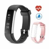 Yuanguo Fitness Armband mit Pulsmesser Fitness Tracker Schrittzähler Uhr IP67 Wasserdicht Aktivitätstracker Fitnessuhr mit Schlafüberwachung Kalorienzähler Vibrationsalarm für Kinder Damen Herrn - 1