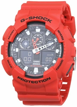 Casio G-Shock Analog-Digital Herren-Armbanduhr GA-100B rot, 20 BAR - 1