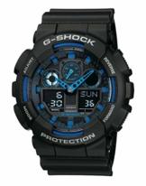 Casio G-Shock Analog-Digital Herrenarmbanduhr GA-100 blau schwarz, 20 BAR - 1