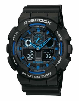 Casio G-Shock Analog-Digital Herrenarmbanduhr GA-100 blau schwarz, 20 BAR - 1