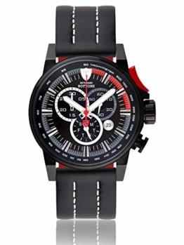 DETOMASO BOTTONE Herren-Armbanduhr Chronograph Analog Quarz schwarzes Edelstahlgehäuse schwarzes Zifferblatt - Jetzt mit 5 Jahre Herstellergarantie (Leder - Schwarz (Naht: Weiß)) - 1