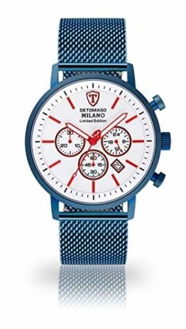 DETOMASO Milano XL Herren-Armbanduhr Chronograph Analog Quarz Edelstahlgehäuse - Jetzt mit 5 Jahre Herstellergarantie (Milanaise Blau - Weiß) - 1
