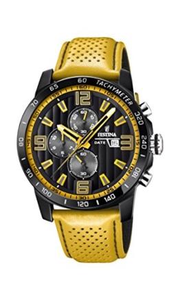 Festina Unisex Erwachsene Chronograph Quarz Uhr mit Leder Armband F20339/3 - 1
