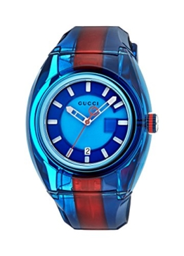 Gucci Unisex Erwachsene Datum klassisch Quarz Uhr mit Gummi Armband YA137112 - 1