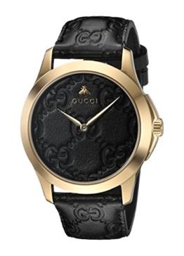 Gucci Unisex Erwachsene Datum klassisch Quarz Uhr mit Leder Armband YA1264034 - 1