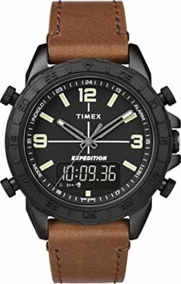 Timex Herren Analog-Digital Quarz Uhr mit Leder Armband TW4B17400 - 1