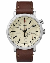 Timex Metropolitan + Bluetooth beige, Brown, Brushed Steel Sport Watch – Sport Uhr (beige, Brown, Brushed Steel, Stainless Steel, Water Resistant, Leather, Mineral, Glass) - 1