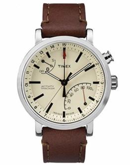 Timex Metropolitan + Bluetooth beige, Brown, Brushed Steel Sport Watch–Sport Uhr (beige, Brown, Brushed Steel, Stainless Steel, Water Resistant, Leather, Mineral, Glass) - 1