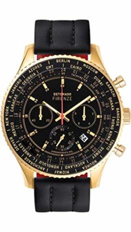 DETOMASO Firenze XXL Herren-Armbanduhr Chronograph Analog Quarz silbernes Edelstahl-Gehäuse blaues Lederarmband blaues Zifferblatt D04-03-01 - 1