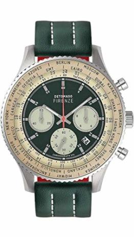 DETOMASO Firenze XXL Herren-Armbanduhr Chronograph Analog Quarz silbernes Edelstahl-Gehäuse grünes Lederarmband grünes Zifferblatt D04-01-01 - 1