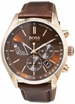 Hugo Boss Herren Chronograph Quarz Uhr mit Leder Armband 1513605 - 1