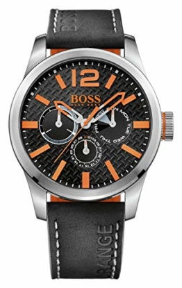 Hugo Boss Orange Paris Herren-Armbanduhr Quartz mit schwarzem Leder Armband 1513228 - 1