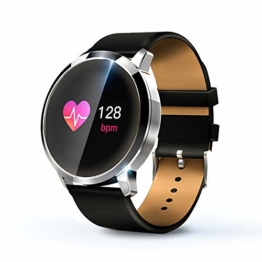 KawKaw Q8A Smartwatch Herzfrequenz Activity Tracker Uhr IP67 Wasserdicht Sport Fitness Tracker Pulsmesser mit Schrittzähler,Kalorienzähler,Whatsapp SMS Beachten Vibrationsalarm (Silber Lederarmband) - 1