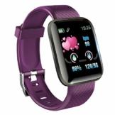 KawKaw Smartwatch mit Pulsmesser & Schrittzähler für Damen und Herren - Integrierter Kalorienzähler & Activity Tracker Blutdruckmesser - Smart Watch Armband Uhr für Sport und Fitness (Lila) - 1