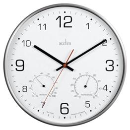 Acctim 29148 Komfort-Wanduhr mit Thermometer und Hygrometer aus Metall, ohne Ticken - 1