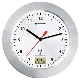 Bresser MyTime Bath Bad Wanduhr mit Temperaturanzeige und Funkuhr mit gebürstetem Aluminiumrahmen, Saugnäpfen und Standfuß für Tischmontage, weiß/silber - 1