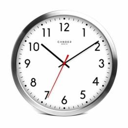 Cander Berlin MNU 4130 Weiße Wanduhr aus Aluminium mit lautlosem Sweep Uhrwerk für den Außenbereich - Badezimmerwanduhr - 12 Zoll (Ø) 30,5 cm - 1