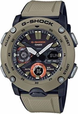 CASIO Herren Analog – Digital Quarz Uhr mit Resin Armband GA-2000-5AER - 1