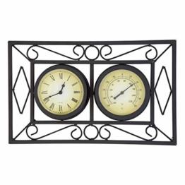 Charles Bentley Aufwändiger Garten Außen Metall Wand befestigten Rahmen Uhr & Thermometer - witterungsbeständig in schwarz - 1