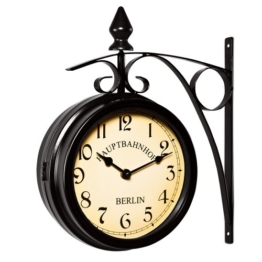 Deuba Zweiseitige Bahnhofsuhr - Wanduhr Uhr Retro Antik Stil Quarz schwarz - 1