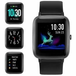 【Neueste Modell】 GRDE Smartwatch Bluetooth V5.0 Fitness Armbanduhr 1,3 Zoll Voll Touchscreen Sportuhr mit Schrittzähler Herzfrequenz/Schlaf Monitor 5 ATM Wasserdicht Fitness Tracker für IOS Android - 1