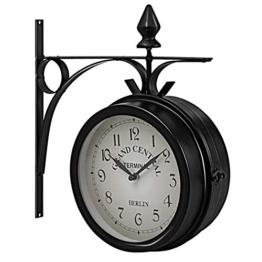 GOPLUS zweiseitige Wanduhr Bahnhofsuhr Gartenuhr doppelseitige Uhr Zeitanzeiger 33 x 30 x 10 cm (H x L x B) schwarz - 1