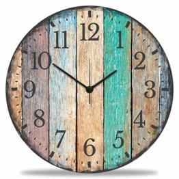 GRAVURZEILE Wanduhr aus Holz Vintage Summer - 100% Lautlos kein Ticken absolut geräuschlos - 30 cm Ø - Design Wanduhren für Wohnzimmer Schlafzimmer & Küche - 1