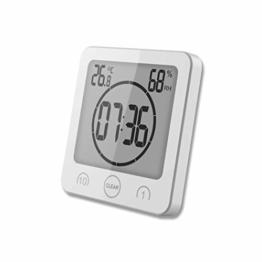 HONPHIER Dusche Uhr Badezimmer Uhr Digital Große Anzeige Touchscreen Timer mit Temperatur Luftfeuchtigkeit Display für Badezimmer Dusche Küche (Weiß) - 1